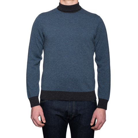 CANALI 1934 Blue Jacquard Cashmere Knit Turtleneck Sweater NEW