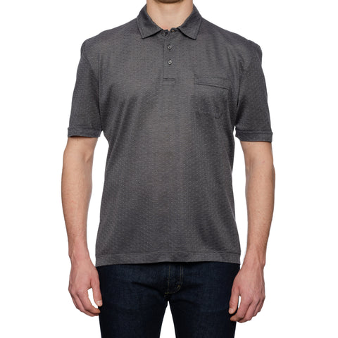 CANALI Gray Jacquard Cotton Pique Short Sleeve Polo Shirt NEW