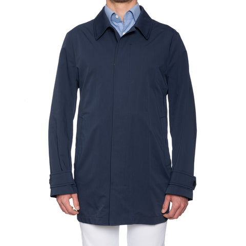CANALI Handmade Blue Cotton-Silk Rain & Wind Tech Jacket Coat EU 54 NEW US XL