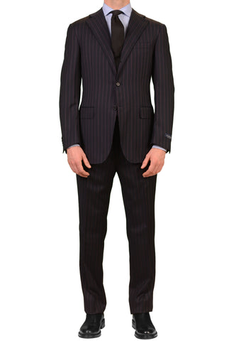 CANALI ITALY Navy Blue Striped Super 120's Wool Busines Suit NEW Slim Fit