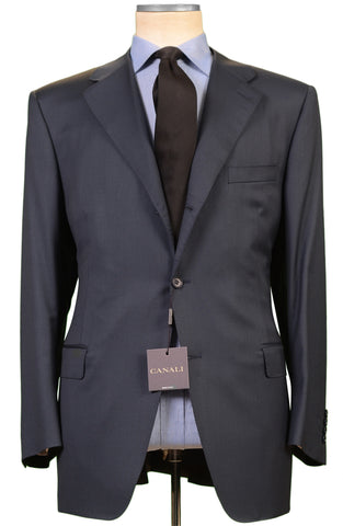 CANALI ITALY Solid Blue Wool Business Suit EU 56 NEW US 46 Classic Fit