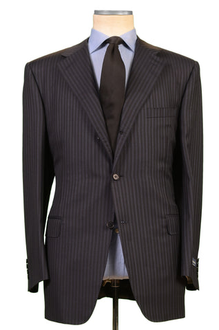 CANALI Italy Black Striped Wool-Silk Business Suit EU 56 NEW US 46 Classic Fit