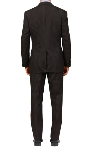 CANALI Italy Black Striped Wool Peak Lapel Business Suit NEW Slim Fit