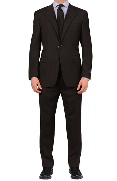"CANALI Italy Black Striped Wool Suit Classic ""Natural Comfort"" NEW"