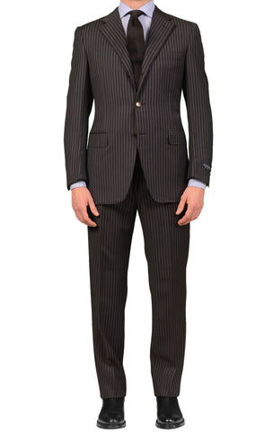 CANALI Italy Dark Gray Striped Wool Notch Lapel Business Suit NEW Classic Fit