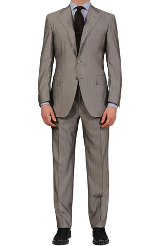 CANALI Italy Light Gray Striped Wool-Silk Business Suit EU 48 NEW US 38 Classic