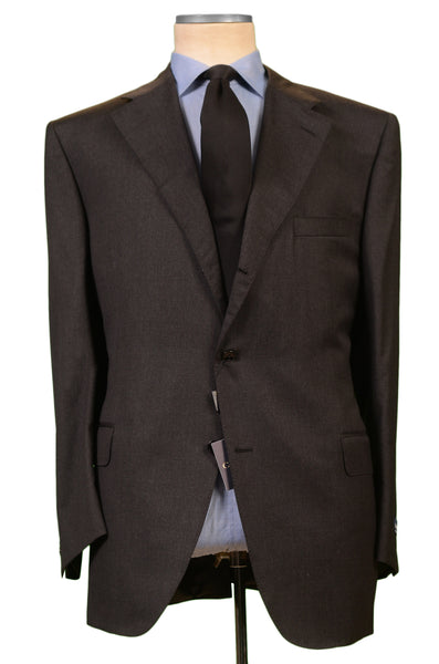 CANALI Italy Solid Gray Wool Notch Lapel Business Suit EU 62 NEW US 52 Classic