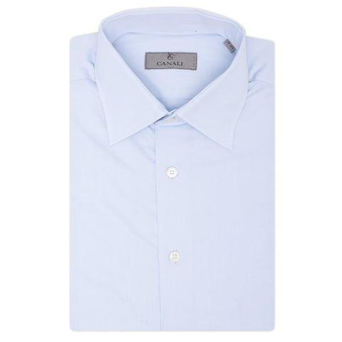 CANALI Light Blue Cotton Slim Fit Dress Shirt