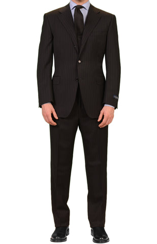 CANALI Made In Italy Black Striped Super 120's Wool Elegant Suit NEW Classic Fit