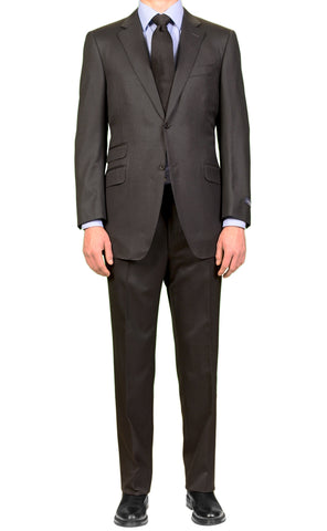 CANALI Made In Italy Black Striped Super 140's Wool Elegant Suit Slim Fit NEW