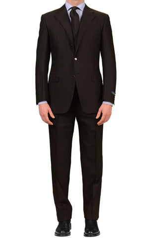 CANALI Made In Italy Black Striped Wool-Silk Suit Classic Fit NEW
