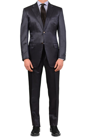 CANALI Made In Italy Blue Striped Wool-Silk Satin Business Suit NEW US 40 Slim E