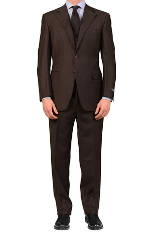 CANALI Made In Italy Diplomat Brown Striped Wool Suit Classic Fit