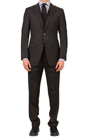 CANALI Made In Italy Gray Striped Super 120's Wool Business Suit Slim Fit NEW
