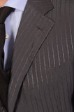CANALI Made In Italy Gray Striped Wool-Silk Business Suit Classic Fit NEW