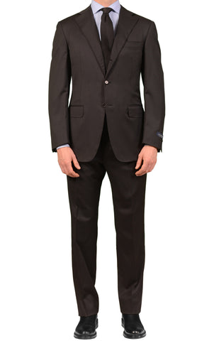 CANALI Made In Italy Solid Black Super 120's Wool Elegant Suit Slim Fit NEW