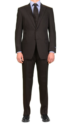 CANALI Made In Italy Solid Black Wool Peak Lapel Elegant Suit Slim Fit NEW