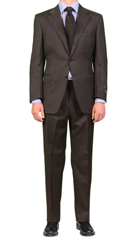 CANALI Made In Italy Solid Gray Wool Notch Lapel Business Suit NEW Classic Fit