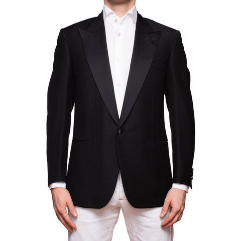 CASTANGIA 1850 Black Wool Peak Lapel Dinner Jacket EU 50 NEW US 40