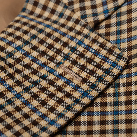CASTANGIA 1850 Beige Gingham Plaid Wool Jacket EU 48 NEW US 38
