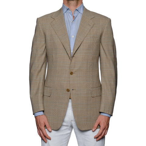 CASTANGIA 1850 Beige Prince of Wales Wool Super 100's Sport Coat Jacket NEW