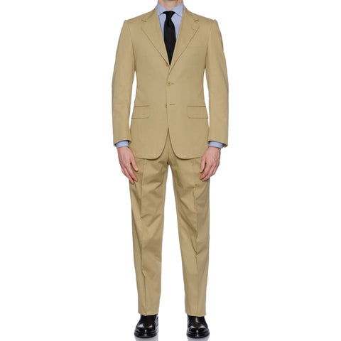 CASTANGIA 1850 Beige Twill Cotton Summer-Spring Suit EU 48 NEW US 38 with Defect
