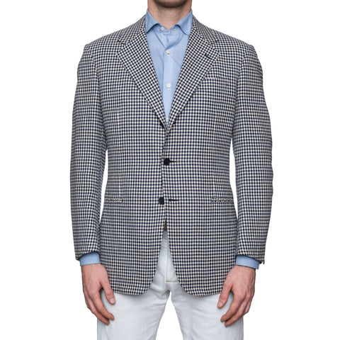 CASTANGIA 1850 Blue Plaid Silk-Wool Hopsack Sport Coat Jacket EU 50 NEW US 40