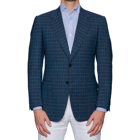CASTANGIA 1850 Blue Plaid Wool Sport Coat Jacket EU 48 NEW US 38