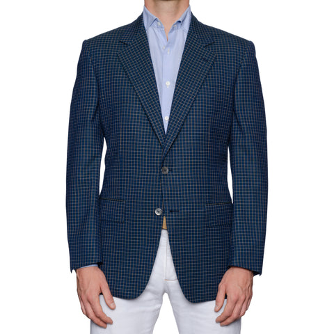 CASTANGIA 1850 Blue Checked Wool Sport Coat Jacket EU 50 NEW US 40