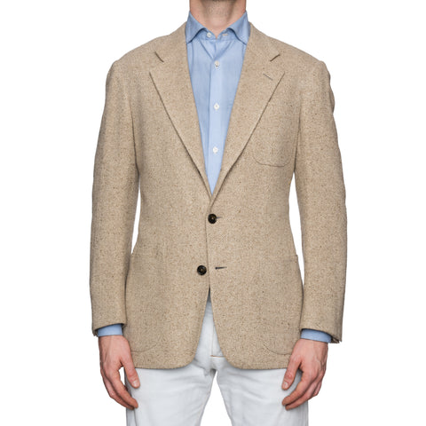 CASTANGIA 1850 Beige Linen-Silk Hopsack Unlined Jacket NEW Athletic Fit