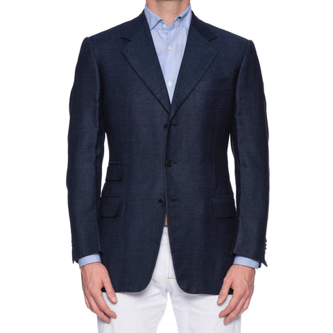 CASTANGIA 1850 Blue Silk-Linen-Wool Super 110's Sport Coat Jacket EU 50 US 40