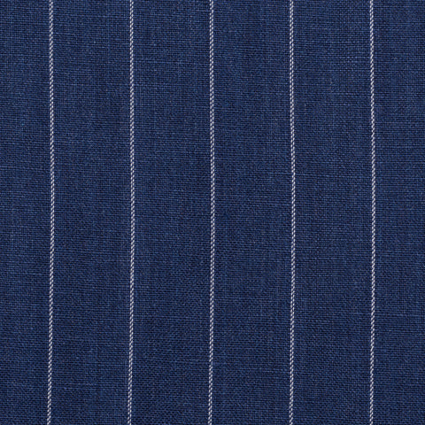 CASTANGIA 1850 Blue Striped Wool-Linen Suit with Leather Trims NEW