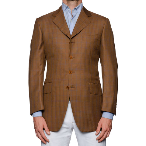 CASTANGIA 1850 Brown Herringbone Plaid Wool-Silk 4 Button Jacket NEW