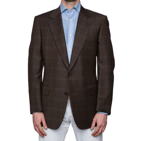 CASTANGIA 1850 Brown Houndstooth Plaid Wool Jacket EU 52 NEW US 42