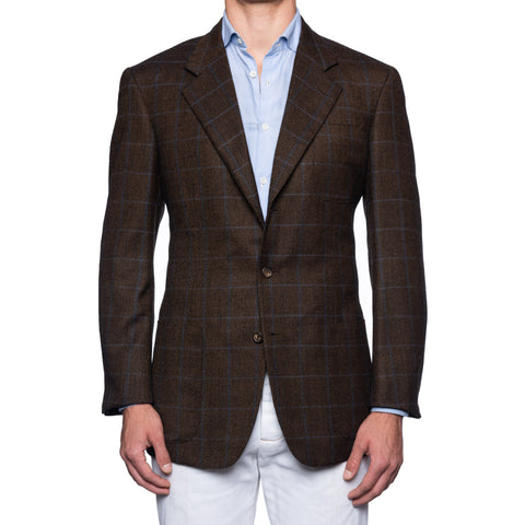 CASTANGIA 1850 Brown Plaid Wool Flannel Sport Coat Jacket EU 52 NEW US 42