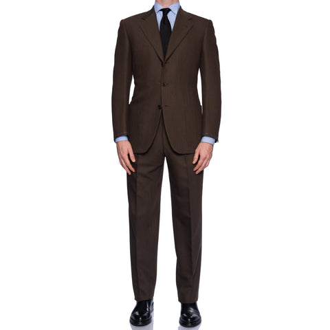 CASTANGIA 1850 Brown Wool Twill 3 Button Suit NEW