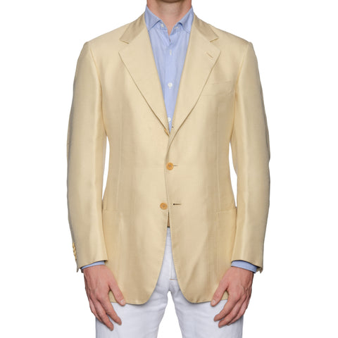 CASTANGIA 1850 Cream Dupioni Silk Sport Coat Jacket EU 52 NEW US 42