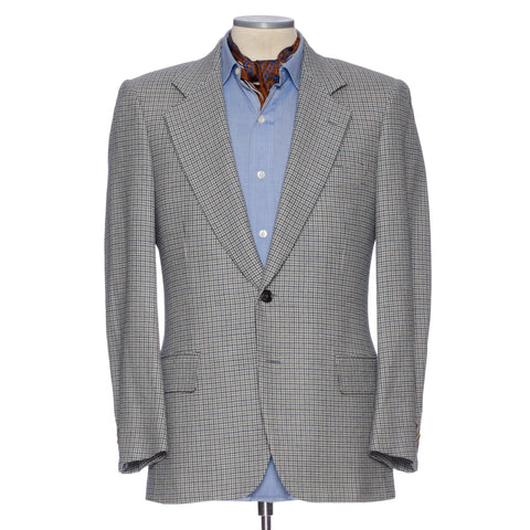 CASTANGIA 1850 Gray Houndstooth Wool-Cashmere Jacket EU 46 NEW US 36