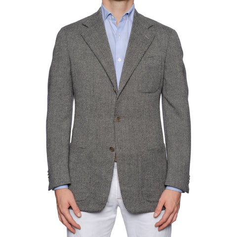 CASTANGIA 1850 Gray Micro Check Wool Flannel Unlined Sport Coat Jacket NEW