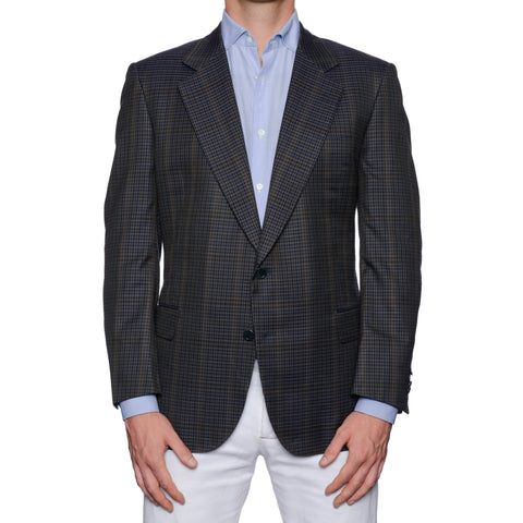CASTANGIA 1850 Gray Plaid Cotton Sport Coat Jacket EU 52 NEW US 42