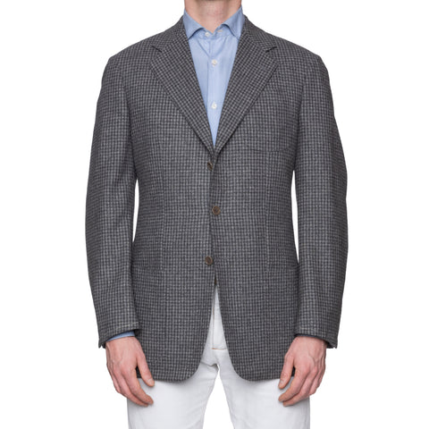 CASTANGIA 1850 Gray Plaid Flannel Wool Unlined Sport Coat Jacket EU 52 NEW US 42