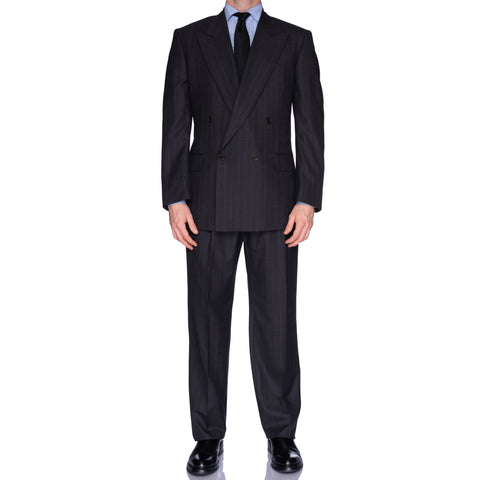 CASTANGIA 1850 Gray Chalk Stripe Wool DB Business Suit EU 52 NEW US 42