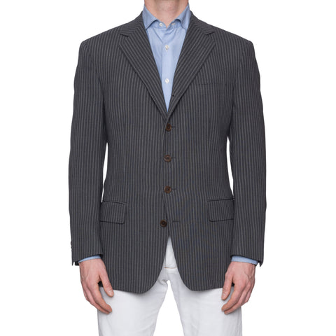 SARTORIA CASTANGIA Gray Striped Wool-Cotton 5 Button Jacket EU 50 NEW US 40