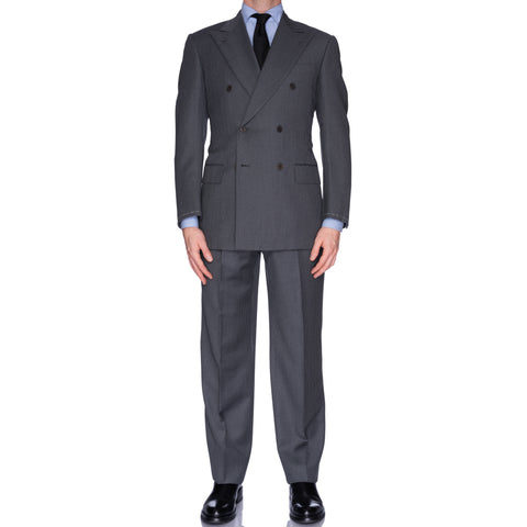 CASTANGIA 1850 Solid Gray Striped Wool DB Suit EU 48 NEW US 38