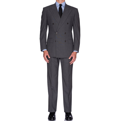 CASTANGIA 1850 Gray Striped Wool DB Suit EU 50 NEW US 40