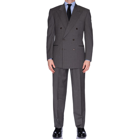 CASTANGIA 1850 Gray Striped Wool DB Business Suit EU 52 NEW US 42