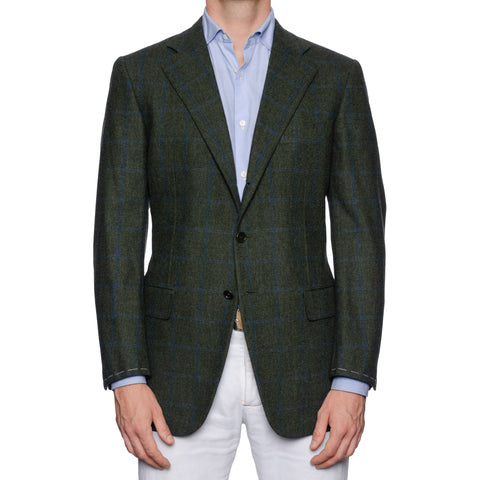CASTANGIA 1850 Green Plaid Merino Wool Super 120's Flannel Jacket 50 NEW US 40