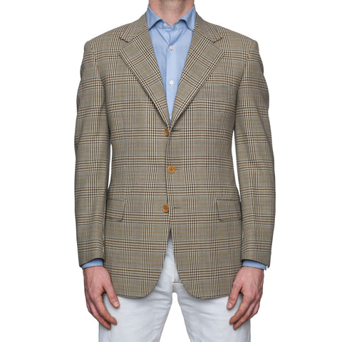 CASTANGIA 1850 Khaki Prince of Wales Wool Sport Coat Jacket EU 50 NEW US 40