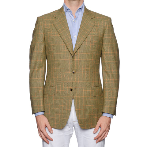 CASTANGIA 1850 Light Olive Prince of Wales Wool Sport Coat Jacket 48 NEW US 38