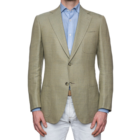 CASTANGIA 1850 Light Olive Ramie-Wool-Silk Sport Coat Jacket EU 50 NEW US 40